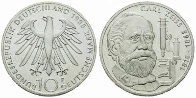 10 Marka 1988 - 100. výročí úmrtí Carla Zeisse, Ag 0,625, 32,5 mm (15,5 g)