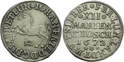12 Mariánských grošů (1/3 Tolar) 1672, luxusní zachovalost