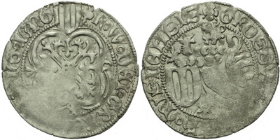 Štítový groš, 1440 - 1456, Freiberg, Krug.1034/7