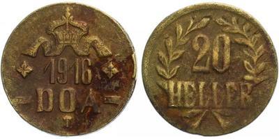 20 Haléř 1916 T, minc. Tabora, odlité z nábojnic