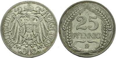 25 Pfennig 1909 D