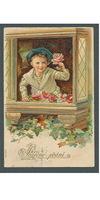 Sváteční, přání - Chlapec v okně, zlacená, tlačená