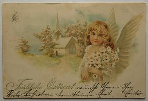 Sváteční, přání - Anděl s kyticí kopretin