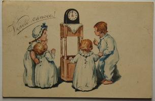 Sváteční, přání - Veselé Vánoce, Děti s hodinami