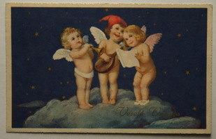 Sváteční, přání - Veselé Vánoce, Tři andělé