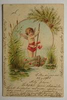 Sváteční, přání - Anděl na loďce