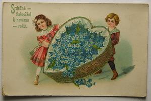Sváteční, přání - Nový rok, Děti se srdcem z poměnek