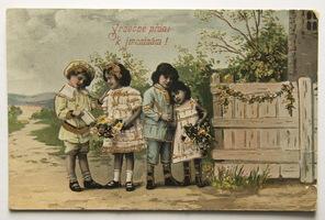 Sváteční, přání - Přání k jmeninám, Děti s kyticemi