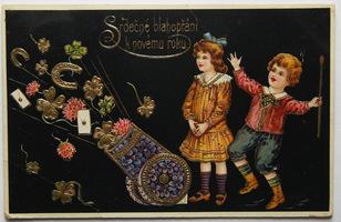Sváteční, přání - Nový rok, Děti s kanonem štěstí