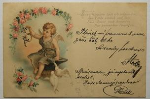 Sváteční, přání - Přání, Anděl s prstýnky a holubicemi