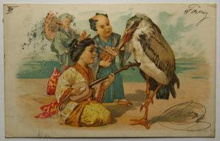 Sváteční, přání - Přání, Asiaté s ptákem