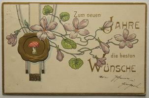 Sváteční, přání - Nový rok, Secesní přání s květinami a muchomůrkou
