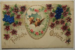 Sváteční, přání - Velikonoce, Kuřátka v kraslici, květiny