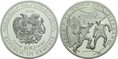 100 Dram 2004 - FIFA 2006, Ag 0,925, 38 mm (28,48 g)