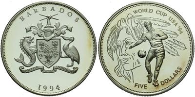 5 Dollar 1994 - Světový pohár USA '94, Ag 0,925, 38 mm (28,55 g), PROOF