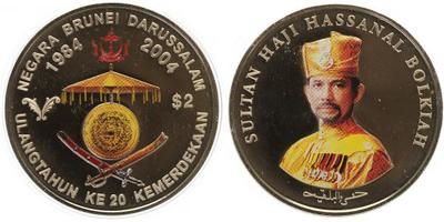 2 Dollar 2004, 20. výročí nezávislosti, Cu + Ni, 40 mm (31,1 g), kapsle, certifikát,