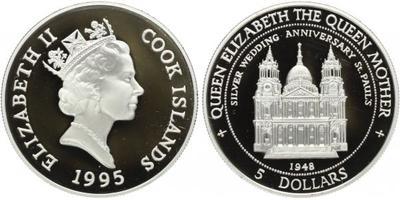 Cookovy ostrovy, 5 Dollar 1995 - Stříbrná svatba, PROOF