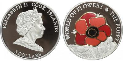 5 Dollar 2009 - Svět květin - mák, Ag 0,999 (25 g), PROOF