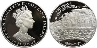 25 Pounds 1985 - 100. výročí nezávislosti, původní značená etůe, Ag 0,925, 65 mm (150