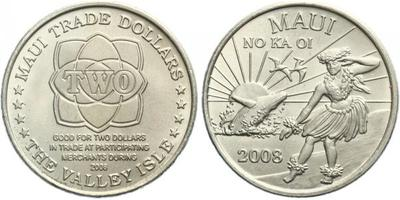 "2 Dollar 2008 - ""Maui trade token"", CuNi, certifikát, 115.000 ks"