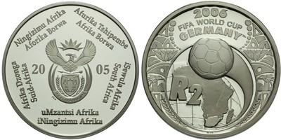 2 Rand 2006 - FIFA, Ag 0,925, 38 mm (33,75 g), PROOF