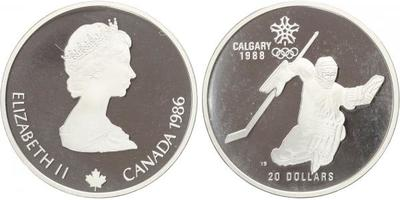 20 Dollar 1986 - Calgary 1988, Ag 0,925, 40 mm (34 g), 1 OZ, PROOF