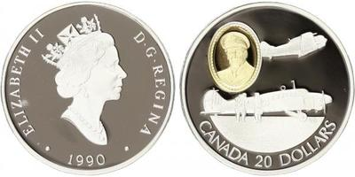 20 Dollar 1990 - Anson and Harvard, Ag 0,925, 37 mm (31,103 g), kapsle, PROOF