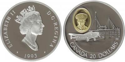 20 Dollar 1993 - Lockheed 14, Ag 0,925, 37 mm (31,103 g), kapsle, PROOF