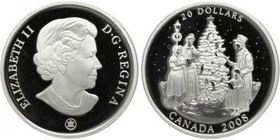 20 Dollar 2008 - Vanoční, Ag 0,925, 1 Oz., (31,1 g), luxusní etue a certifikát, papír