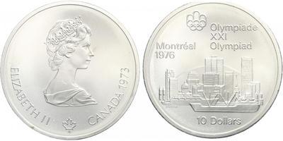 10 Dollar 1973 - OH Montreal 1976, Ag 0,925 (48,6 g), běžná kvalita