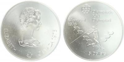 5 Dollar 1975 - OH Montreal 1976, Ag 0,925 (24,3 g), běžná kvalita