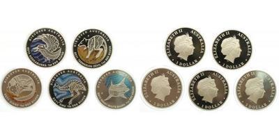 5 x 1 Dollar 2011 - Ag 0,999, 40 mm (5 x 31,1 g), 1 OZ, luxusní etue, barevný papírov
