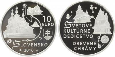 10 Euro 2010 - UNESCO - Dřevěné chrámy, PROOF