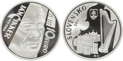 10 Euro 2011 - Ján Cikker - 100. výročí narození, etue, certifikát, PROOF