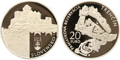 20 Euro 2012 - Památková rezervace Trenčín, etue, certifikát, PROOF