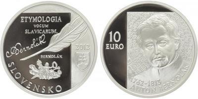 10 Euro 2012 - 250. výročí narození Antona Bernoláka, etue, certifikát, PROOF