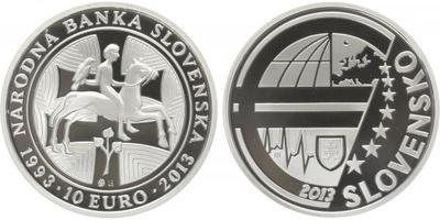10 Euro 2013 - 20. výročí vzniku Národní banky slovenské, etue, bez certifikátu, PROO