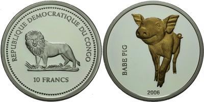 10 Frank 2004 - Prasátko Babe, Ag 0,999, 38 mm (25,1 g), certifikát, PROOF
