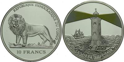 10 Frank 2006 - Maják, Ag 0,999, 38 mm (24,9 g), certifikát, PROOF