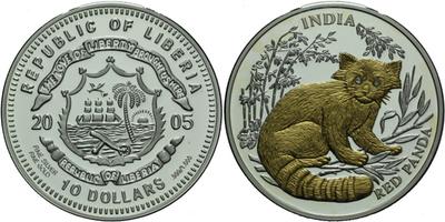 10 Dollar 2005 - Červená panda s diamanty v očích, Ag 0,999, 38 mm (25,0 g), certifi