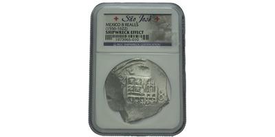 """8 Real 1556 - 1622, Mince z vraku lodi """"Sao José"""" Roku 1622, tedy v době, kdy Portuga"""