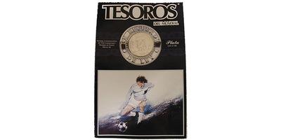 100 Peso 1985 - MS ve fotbale 1986 v Mexiku, Ag, 0,720, 37 mm (27,77 g), původní dvou