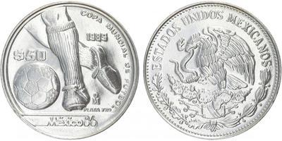 50 Peso 1985 - MS ve fotbale 1986 v Mexiku, Ag, 0,720, 32 mm (15,552 g), běžná kvalit