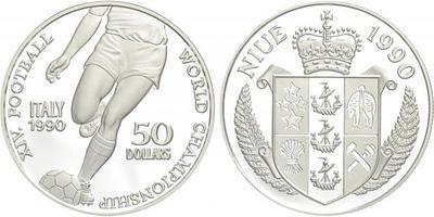 50 Dolar 1990 - Fotbalové mictrovství - Itálie 1990, Ag 0,925, 38 mm (38,2 g), kapsle
