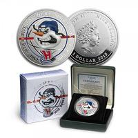 1 Dolar 2012 - 50. výročí hokejového klubu H.C. Sibir Novosibirsk, Ag 0,999, 38,61 mm