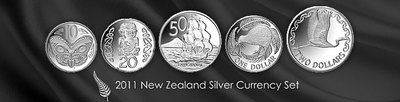 Sada 2011 - New Zealand Silver Currency Set, PROOF