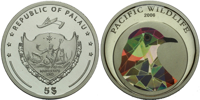 5 Dollar 2006 - Pacific Wildlife - Holub, Ag 0,925, 39 mm (26 g), certifiká