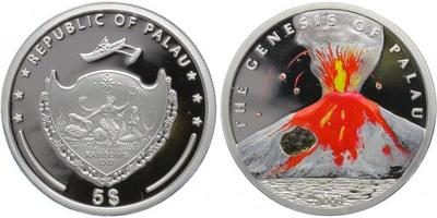 5 Dollar 2006 - Výbuch sopky, Ag 0,925, 39 mm (26 g), PROOF