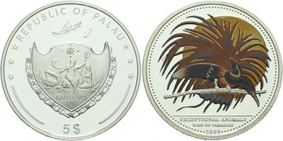 5 Dollar 2009 - Exceptional Animals - Páv, Ag 0,925, 39 mm (25 g), luxusní dřevená et