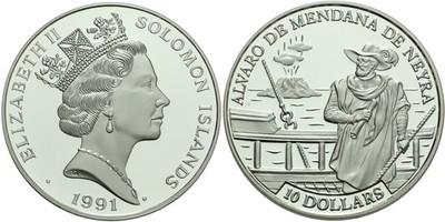 10 Dollar 1991 - Alvaro de Mendana de Neyra, Ag 0,925, 38 mm (31,8 g)